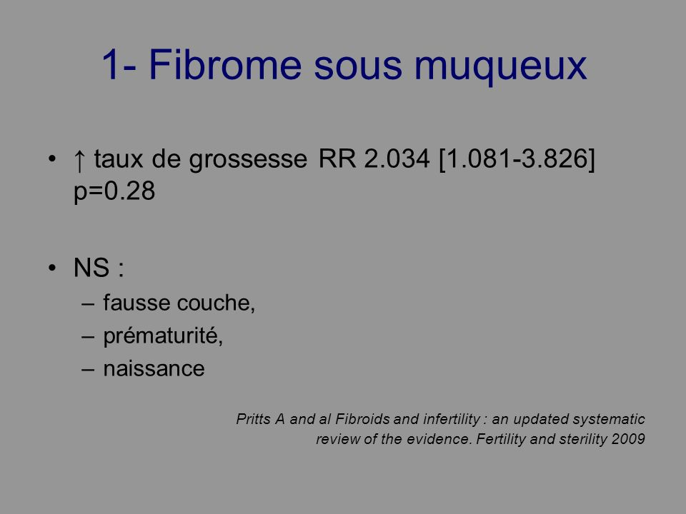 1- Fibrome sous muqueux ↑ taux de grossesse RR 2.034 [1.081-3.826] p=0.28. NS : fausse couche, prématurité,
